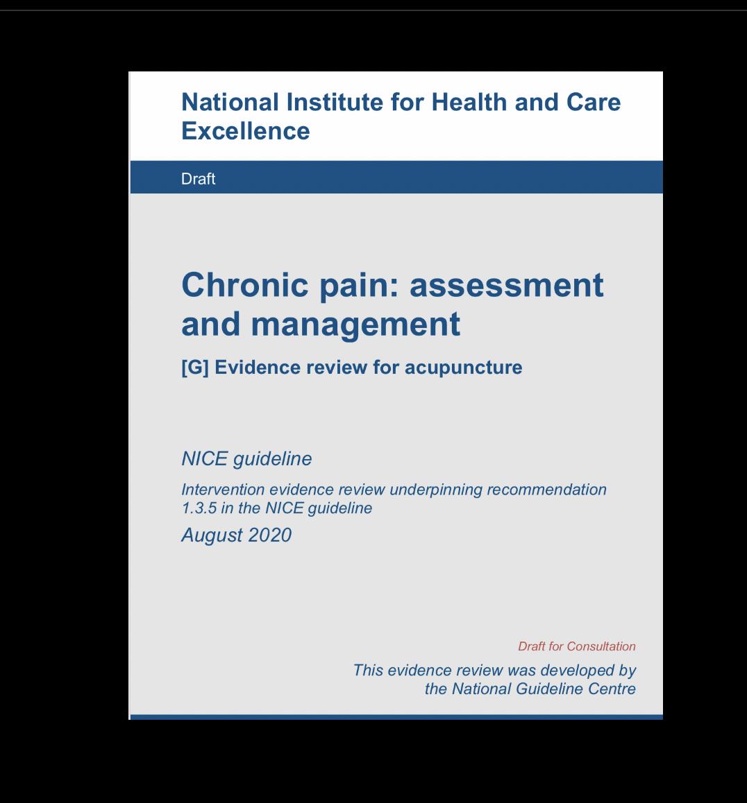 Acupuntura para dolor crónico primario. NICE 2020 (borrador)