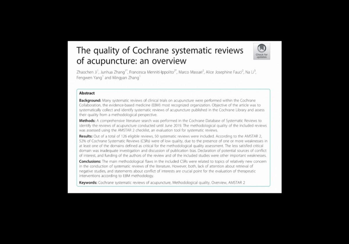 La Calidad de las Revisiones Sistemáticas Cochrane en Acupuntura (Ji, Z et al, 2020)